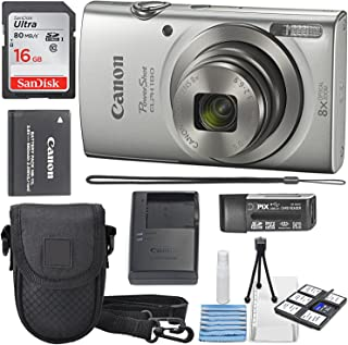 Canon PowerShot ELPH 180 Digital Camera (Silver) + 16GB SDHC Memory Card + Mini Table Tripod +Protective Camera case with Deluxe Cleaning Bundle