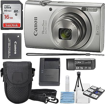 Canon PowerShot ELPH 180°Cámara Digital + SDHC de 16GB tarjeta de memoria + mini trípode de mesa + limpieza de Deluxe protectora funda de cámara con Bundle
