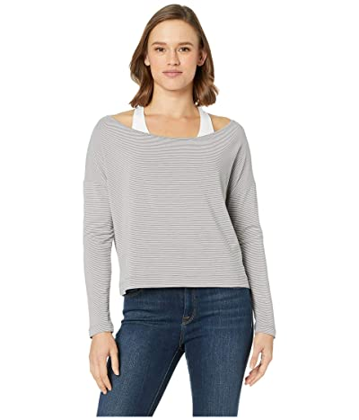 manduka Adorn Boxy Top (Grey Stripe) Women