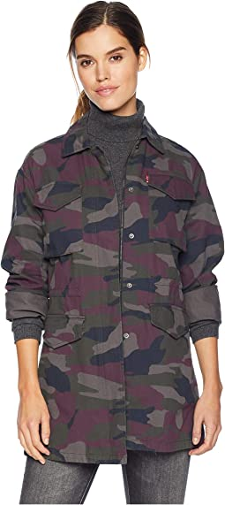 Four-Pocket Button Front Oversized Military