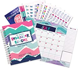 Reminder Binder 2019-2020 (18-Month) Planner & Monthly Desk Calendar with Variety Sticker Set - 6.5