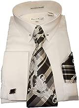 Karl Knox SX4401 Mens White Pointed Collar French Cuff Dress Shirt Pin Collar Bar Plaid Tie