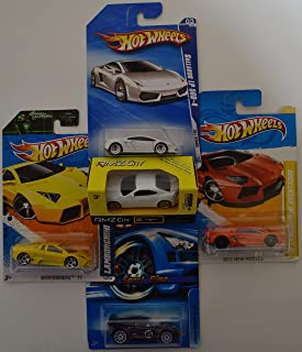 RMZ City '86 Toyota & Hot Wheels Lamborghini Gallardo LP 560-4; '11 Nightburnerz; '12 Aventador & Lotus Sport Elise Cars Bundle 1:64 Scale Collectible Die Cast Model Cars