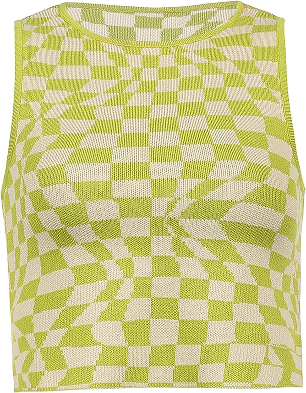 Dqbeng Women's Slim Fit Checkboard Knit Sweater Vest Y2K E-Girls Tank Top Knitwear