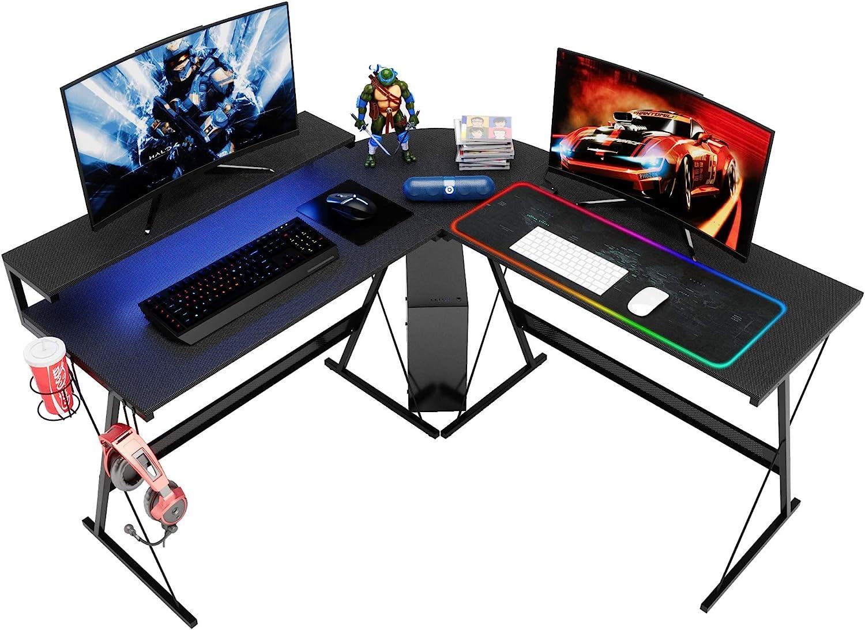 Bestier L-Shaped Led Gaming Computer Desk,RGB Strip Light Modern Corner PC Laptop Desk Study Table Workstation Home Office Desk with Large Elevated Ergonomic Shelf Carbon Black