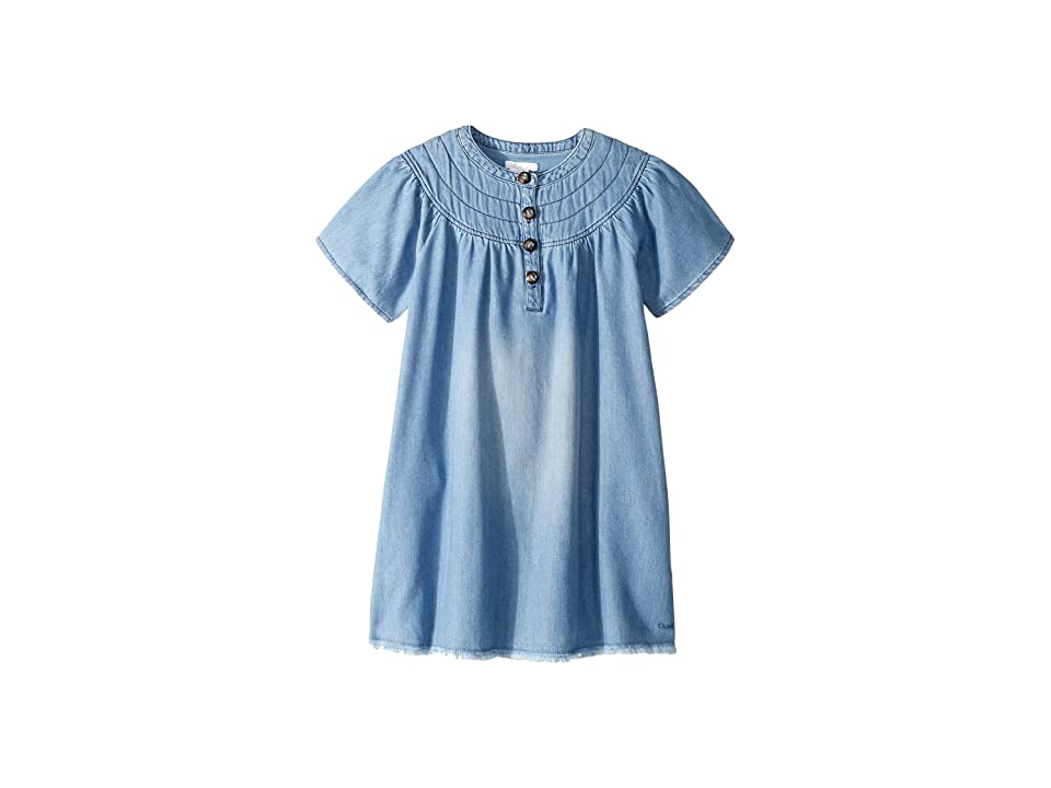 Chloe Kids Light Denim Dress, Stitched Yoke with Horn Buttons (Little Kids/Big Kids) (Denim Blue) Girl