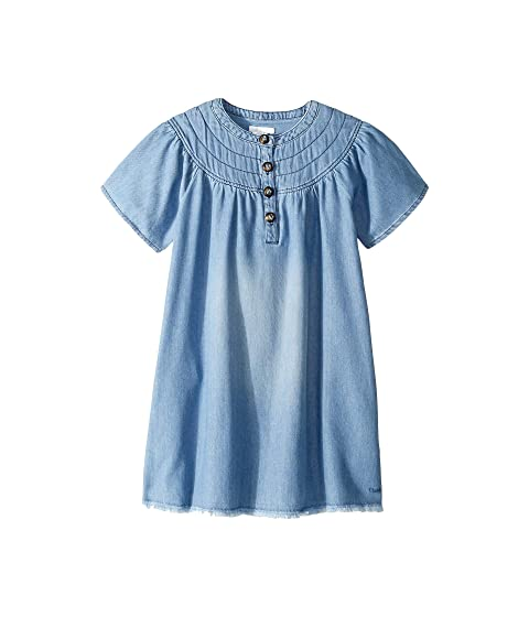 Chloe Kids Light Denim Dress, Stitched Yoke with Horn Buttons (Little Kids/Big Kids)