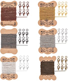 PandaHall Elite 6 Sheets 5m/sheet Iron Twisted Chains Curb Chains Necklaces with 360 pcs 4mm Jump Rings and 120 pcs Brass ...