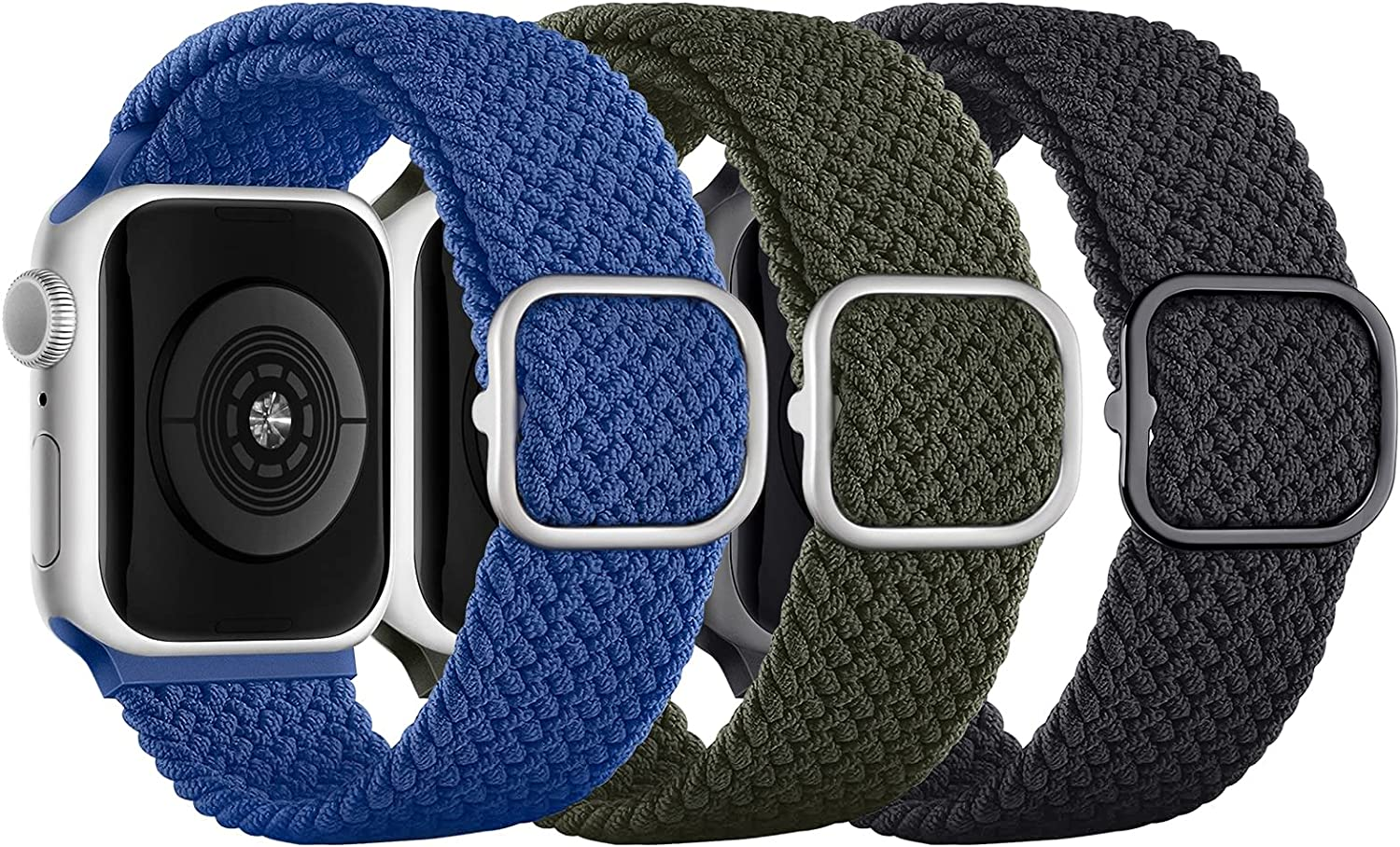 CCnutri Braided Solo Loop Band Compatible with Apple Watch Bands 38mm 41mm 40mm 42mm 44mm 45mm,Stretch Braided band with Buckle for iWatch SE Series 7/6/5/4/3/2/1