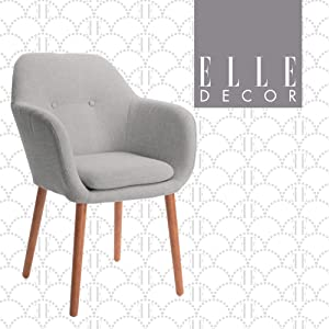 Elle Decor Roux Mid-Century Living Room Accent Armchair, Soft Sofa, Upholstered Linen Fabric Cushion Seat Chair