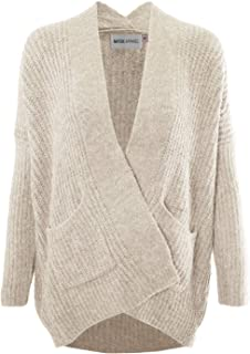 MAYSIX APPAREL Women Casual Cotton Cable Knit Open Sweater Long Sleeve Chunky Cardigan W/Pocket Beige
