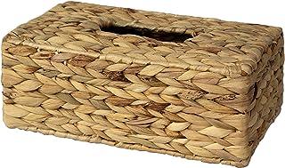Made Terra - Caja de pañuelos rústico para caja de pañuelos   Organizador de servilletas de papel tejido a mano para mesa de comedor, cocina, baño y oficina (rectángulo de jacinto de agua)