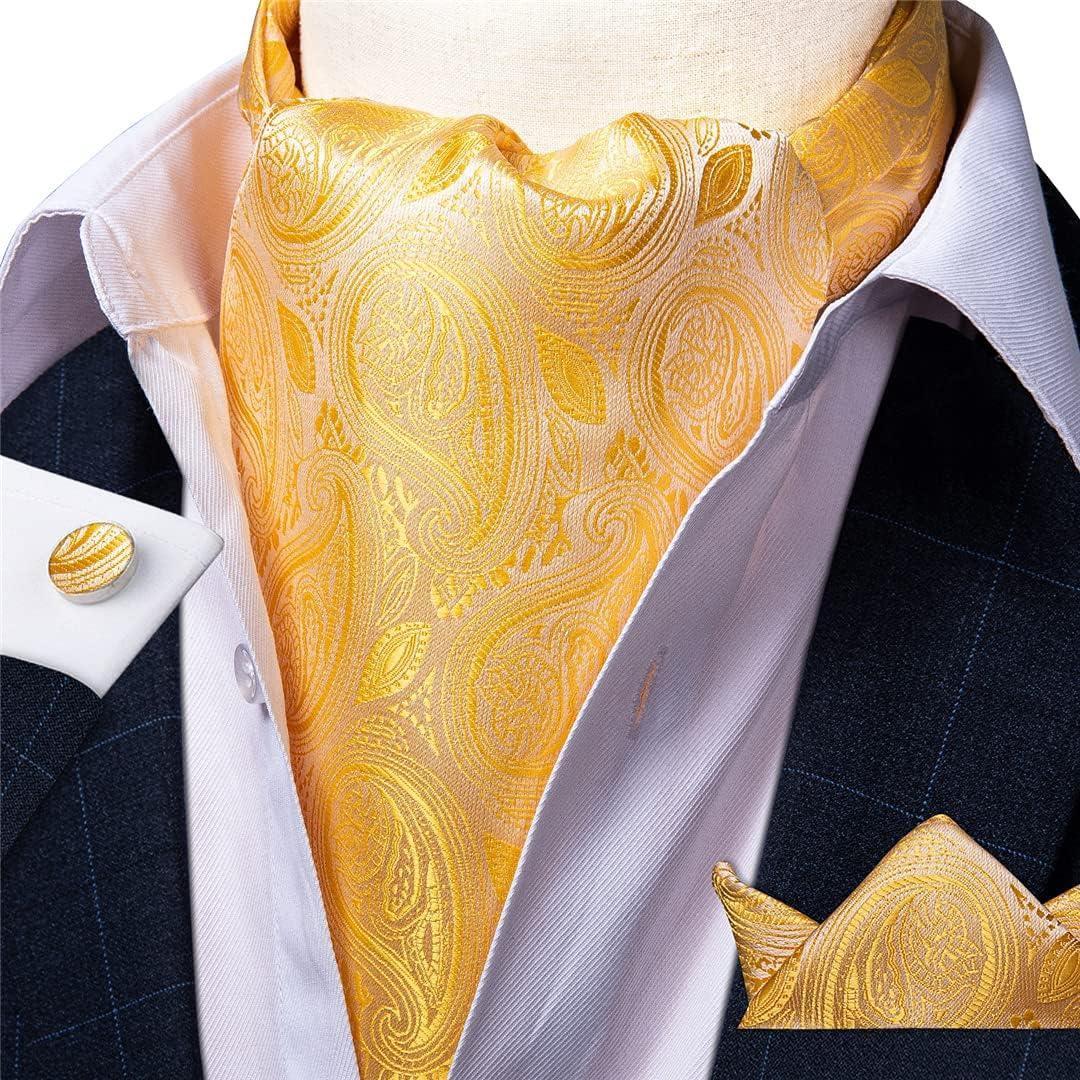Men Vintage Floral Gold Black Wedding Formal Cravat Luxury Silk Neck Tie