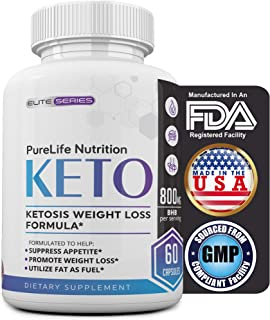 PureLife Keto Diet BHB Pills – Utilize Fat for Energy with Ketosis – Support Metabolism – Manage Cravings, Boost Focus & Energy – Appetite Control Supplement for Women and Men (800mg BHB Potency)