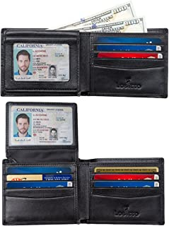 RFID Blocking Bifold Leather wallet with 2 ID Windows,Gift for Men, Multi Card Extra Capacity Travel Wallet