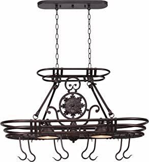 Kenroy Home 90304GC Dorada 2 Light Kitchen Island Pot Rack, 22 Inch Height, 15 Inch Width, 36 Inch Length, Gilded Copper