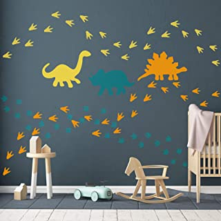 GULIGULI Dinosaur Wall Decal-Dinosaur Footprints&Tracks Stickers-Vinyl Wall Art for Boys&Girls Kids Bedroom Nursery Decor