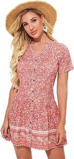 SheIn Women's Floral Print Button Front Short Sleeve Ruffle Hem A Line Dress