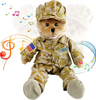 "Houwsbaby American GI Teddy Bear Musical Animated Soldier Hero Stuffed Animal Sings God Bless The USA"" Interactive Plush Toy on Veterans' Day Halloween Christmas, Brown, 19 inches"
