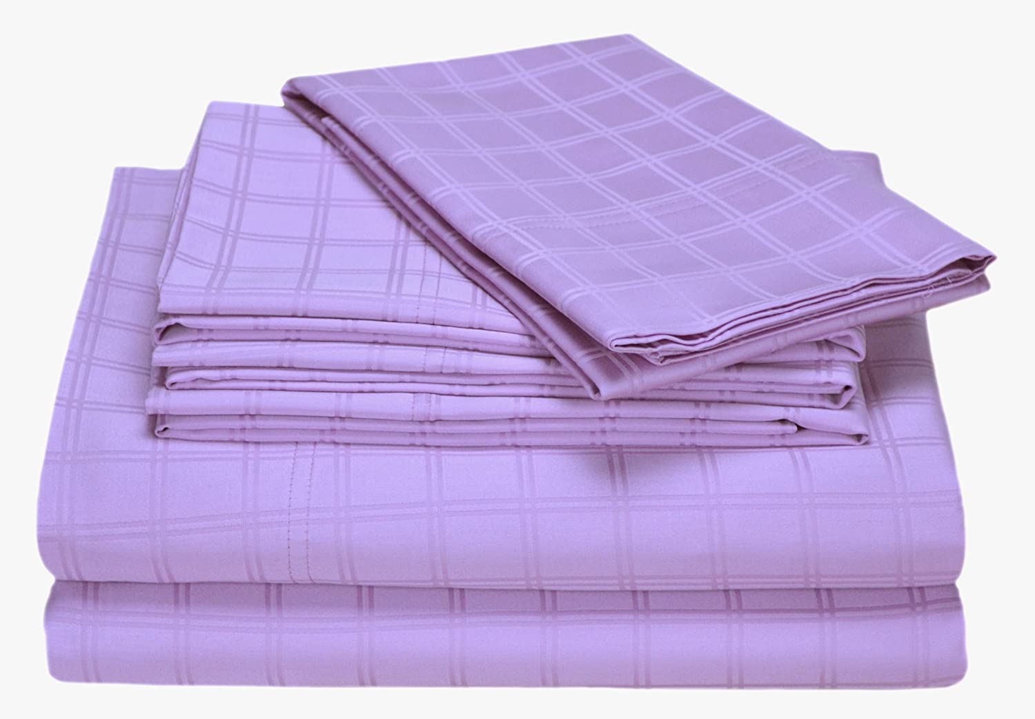 Elite Home Imperial Collection Double Windowpane 350 Thread-Count 100-Percent Cotton Sateen Full Size 6-Piece Sheet Set, Lavender