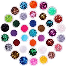 Chunky Glitter, Anezus 67Pcs Holographic Glitter with Fine Festival Glitter in Different Sizes and Dotting Tools for Cosme...
