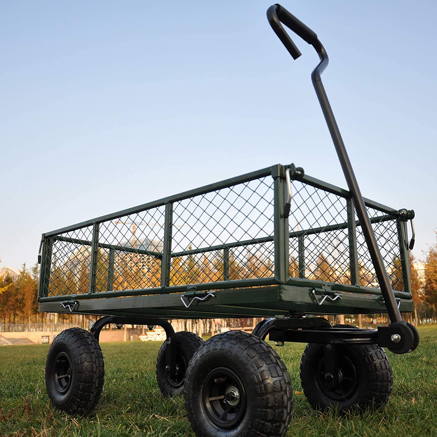 Garden Cart Wagon Steel Utility with Removable Sides and 4 Wheels,for Gardening Yard Work, Heavy Duty 660 lbs Capacity