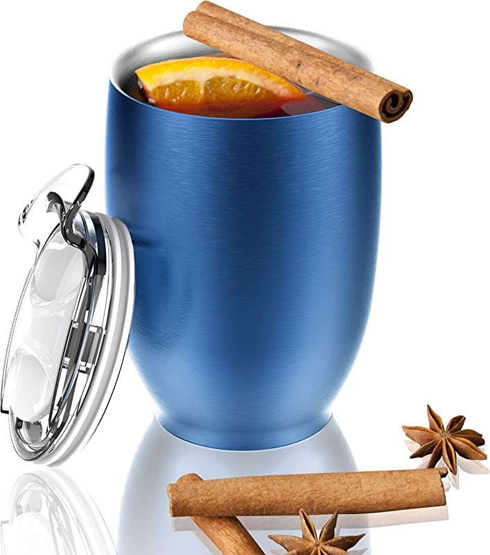 Asobu Imperial Beverage Insulated Cup For Coffee Or Tea With Lid 10 Ounce Blue