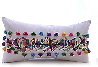 Cojín rectangular bordado de Pájaros, Clavel y Mariposas Tenango Multicolor