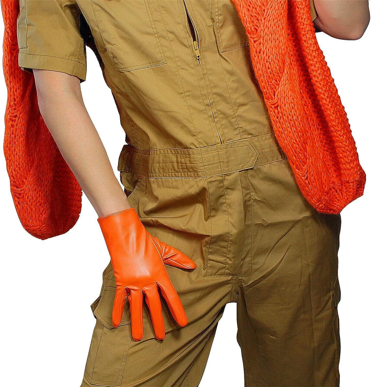DooWay Women Leather Gloves Wrist Short Faux Lambskin Winter Warm Driving Costume Orange 21cm/ 8inches