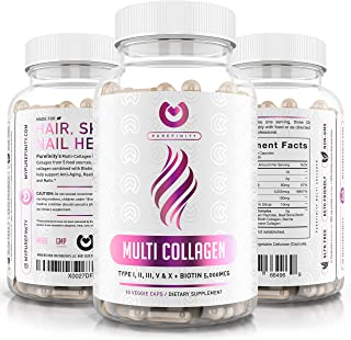 Collagen Peptides Pills - Types I,II,III,V & X with Biotin & Hyaluronic Acid – Supports Anti-Aging, Healthy Hair, Skin, Bo...