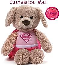 GUND Personalized DC Comics Supergirl Yvette Dog Stuffed Animal Plush, Pink, 12