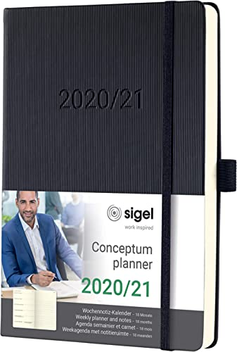 SIGEL C2103 Agenda semainier et carnet 18 mois 2020/2021 Conceptum, couverture rigide, 14,8 x 21,3 cm, noir