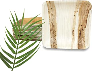 ecoPalm Bamboo Style All-Natural Palm Leaf Plates, 25-Pack, Compostable Disposable Dinnerware - Perfect for Thanksgiving, Weddings, Parties, and Holidays | Bamboo Plates Style (10 inch)