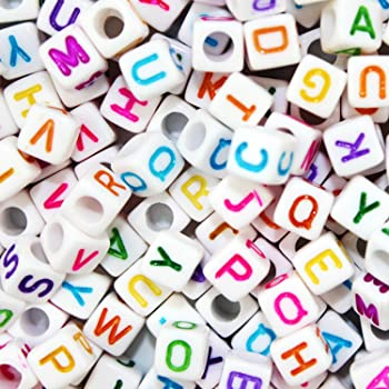 JPSOR 800 Pcs Letter Beads Alphabet Beads for Jewelry Making with Colorful Letters for DIY Bracelets, Necklaces, Educational Toys, Handmade Gift (White Beads with Colorful Letters)