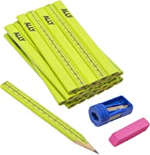 ALLY Tools 24 PC Neon Green Carpenter Pencil Kit with Printed Metric/Inch Ruler INCLUDES Sharpener and Pink Eraser Ideal F...