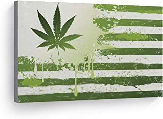 SmileArtDesign Smoke Wall Art Canvas Print Green and White American Flag with Marijuana Leaf Weed Home Decor Artwork Living Room Office Decor Ready to Hang - Made in The USA - 8x12