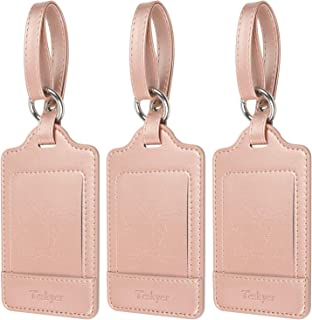 Luggage Tags, 3 Pack Teskyer Premium PU Leahter Luggage Tags Privacy Protection Travel Bag Labels Suitcase Tags-Rose gold