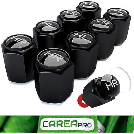 Careapro Ventilkappen Auto Mit Beschriftung 8er Set Im Bucket Black Look Mit Dichtung Intelligente Reifen Markierung Rostfrei Abs Kunststoff Auto