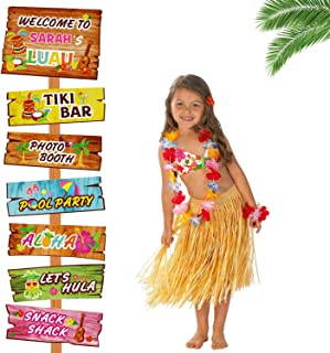 Luau Party Signs Aloha Welcome Signage Tropical Summer Birthday Party Hawaiian Baby Shower Yard Decorations Tiki Bar Photo...