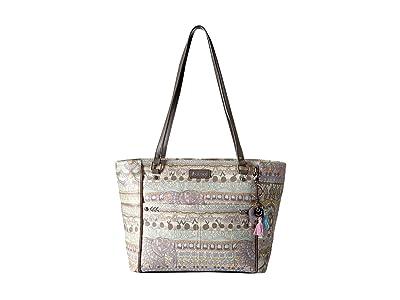 Sakroots Artist Circle Medium Satchel (Pastel One World) Tote Handbags