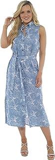 Vestido Camison Largo Sin Mangas De Lino De Verano para Mujer Botón A Través De La Túnica con Cinturón A Juego   Tallas De Mujeres Disponibles Desde Pequeña hasta Grande