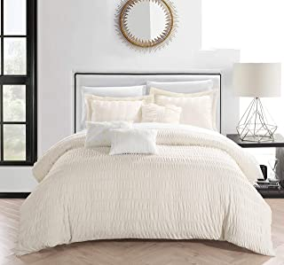 Chic Home Hadassah 6 Piece Comforter Set Striped Ruched Ruffled Bedding - Decorative Pillows Shams Included, Queen, Beige