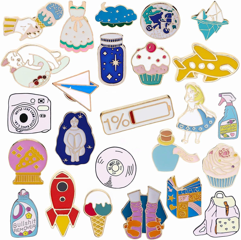 Enamel Lapel Pin Set 20 PCS Cartoon Cute Backpack Jackets Pin DIY Crafts  Hard Lapel Brooch for Kid's Women Christmas GiftsC