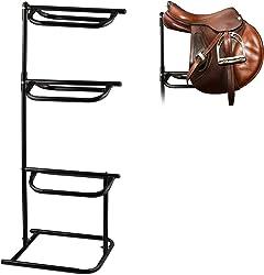 Relaxdays Soporte Montura de Caballo para 3 Sillas de Montar, Accesorio Hípica, Acero, 1 Ud,154 x 64 x 53 cm, Negro