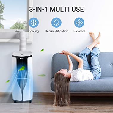 Gree Portable Air Conditioner 10,000 BTU (6000 BTU SACC standard) with Remote Control, 3 in 1 Portable Air Conditioner with C