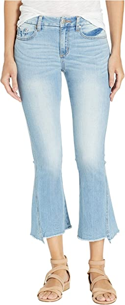 Five-Pocket Crop Flare Jeans in Light Blue