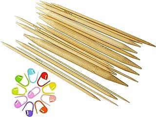 75pcs 手あみ針 くつした針 短5本針 棒針 竹製 長さ15cm 2.0㎜から10.㎜まで 15サイズ 編み棒セット