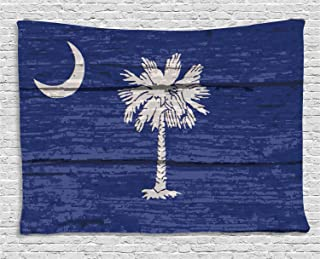 Lunarable South Carolina Tapestry, State Flag Palm Tree Moon Pattern on Rustic Wooden Background, Wide Wall Hanging for Bedroom Living Room Dorm, 60