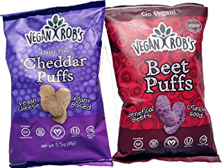 VEGAN ROBs Vegan Gluten Free Puffs | Cheddar and Beet | 3.5 oz Each Variety Pack of 2