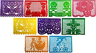 Paper Full of Wishes I Large Plastic Day of The Dead Papel Picado Banner I Un Dia de Memoria I Decorations for Dia De Los Muertos I 9 Large Panels I 15 Ft Long Hanging